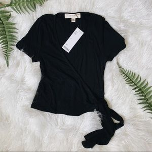 Social T Urban Outfitters black ribbed wrap crop